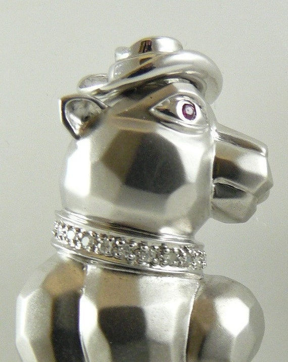 Tiger Pin with Ruby 0.10ct ,14k White Gold & Diamonds 0.08 ct