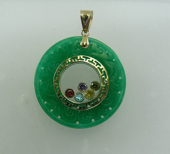 Jade Pendant with Multi-Color GemStone 14k Yellow Gold