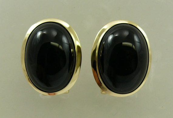 Black Onyx 13.0 MM x 18.0 MM Earring 14k Yellow Gold