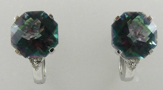 Mystic Topaz 11.7ct Earring 14k White Gold & Diamonds 0.07ct