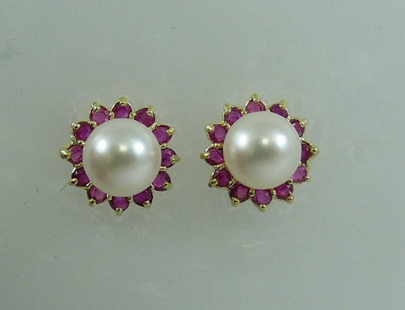 Akoya 6.8 mm White Pearl Earring and Ruby 0.80ct Jackets 14k Yellow Gold