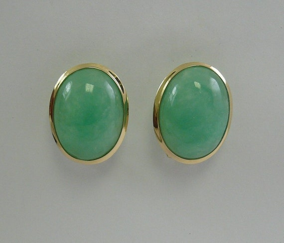 Green 15 x 20 mm Jade Earrings 14k Yellow Gold
