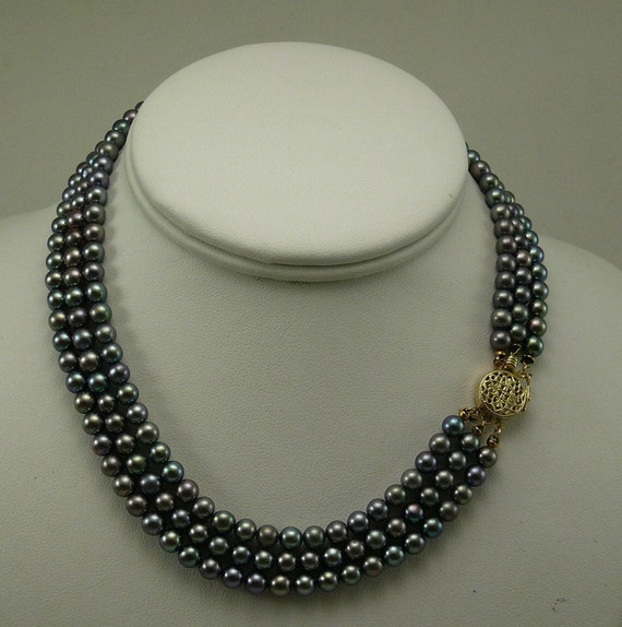 Freshwater Gray Pearl Triple Strand Necklace with 14k Yellow Gold Clasp