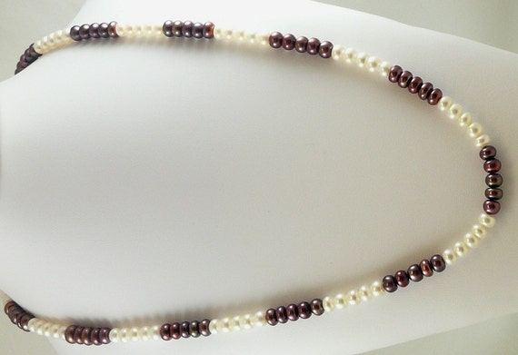 Freshwater Purple and White Pearl Necklace 46 Inches
