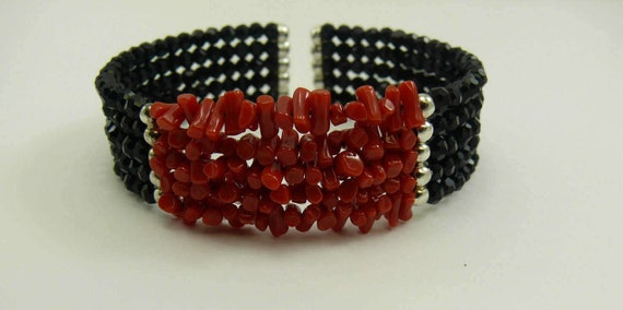Italian Coral & Black Onyx 5 Strands Cuff Bangle set in Sterling Silver