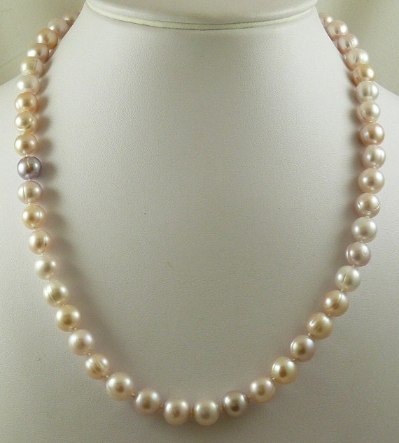 Fresh Water Pearl Multi-Color Off Round 9.3mm x 9.3mm - 8.6mm x 8.8mm 14KY Gold