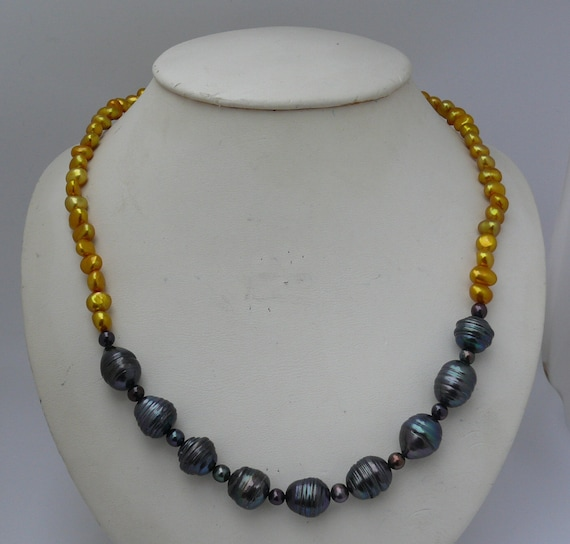 Freshwater Golden & Black Pearl Necklace with Sterling Silver Clasp