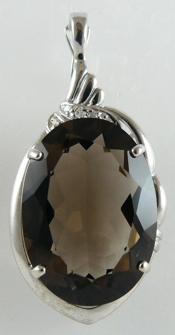 Smokey Topaz 25x18mm Pendant with Diamonds 0.05ct 14k White Gold