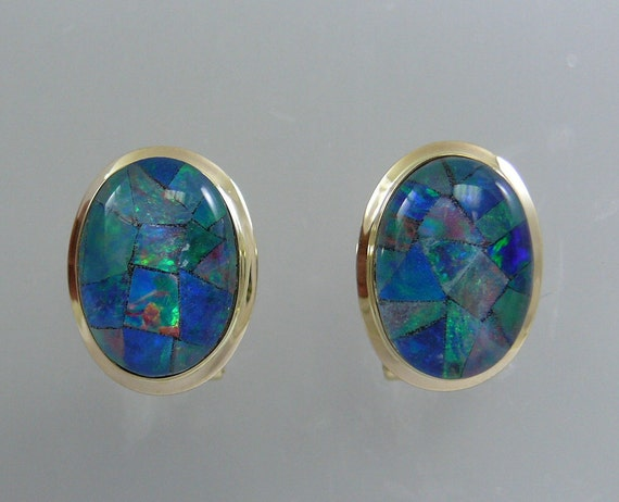 Mosaic 13.9 x 9.9 mm Opal Earring with 14k Yellow Gold
