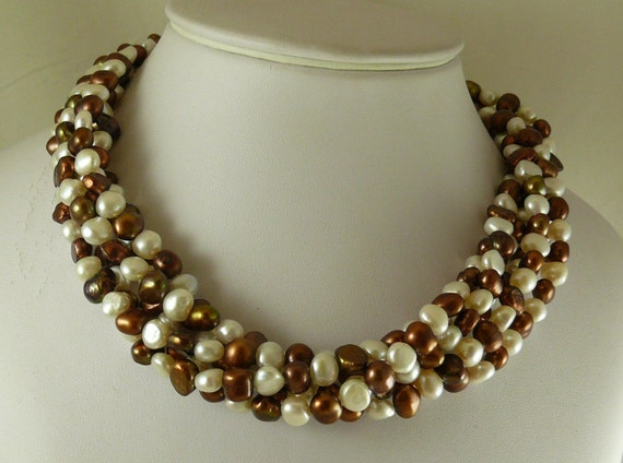 Freshwater White & Brown Flat Pearl 5 Strand Necklace with Sterling Silver Clasp