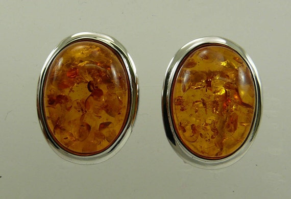 Amber 15.7 mm x 11.7 mm Earrings with Sterling Silver Omega Backs