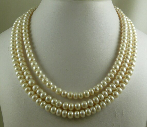 Freshwater White Pearl III Strand Necklace with Sterling Silver Clasp