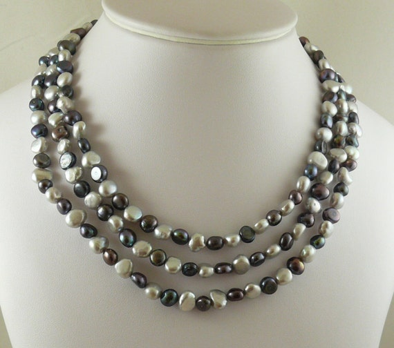 Freshwater Gray & White Pearl Triple Strand Necklace with Sterling Silver clasp