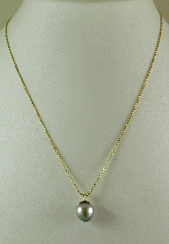 """Tahitian Gray 9.7 mm x 10.2 mm Pendant with 14k Yellow Gold Chain 18"""" Long"""