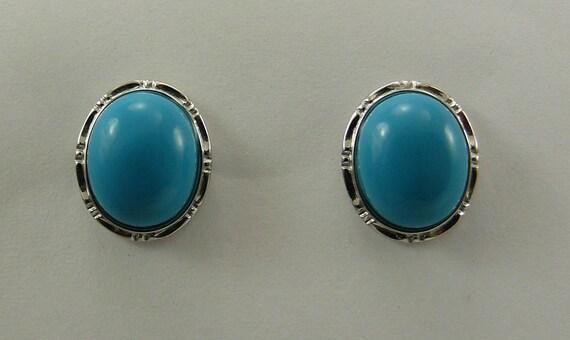 Turquoise Oval Shape Earring 14K White Gold