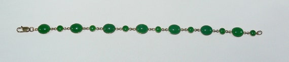 Green 5mm Round & 8x10mm Oval Jade Bracelet 14k Yellow Gold