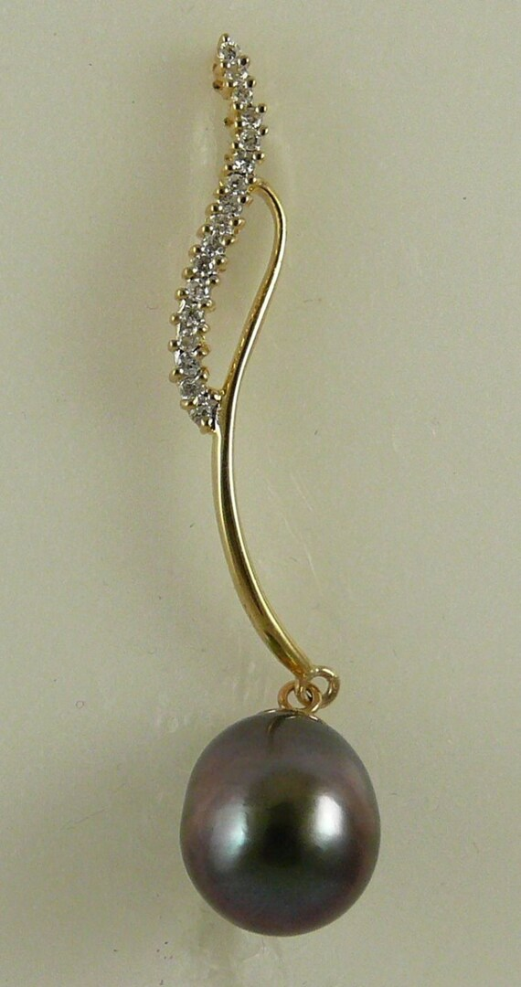 Tahitian Black 12 mm x 13.3 mm Pearl Pendant,14K Yellow Gold With Diamonds 0.19 ct