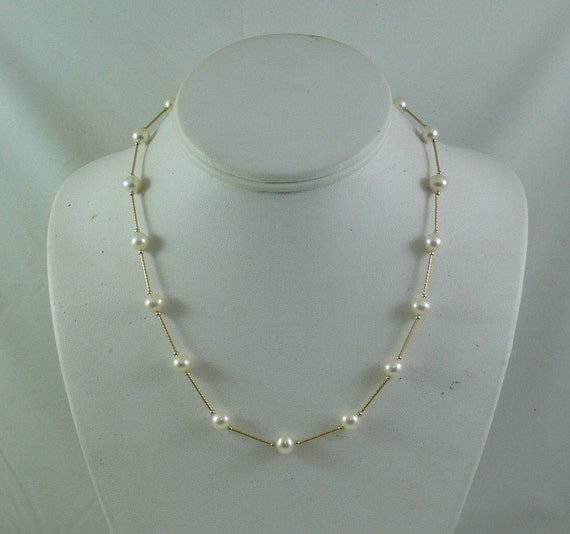 Freshwater White Pearl Necklace 14k Yellow Gold Tubes and Beads 17 3/4 Inches
