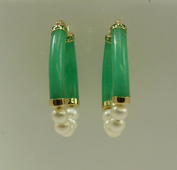 Green Jade and Freshwater Pearl Earrings 14k Yellow Gold