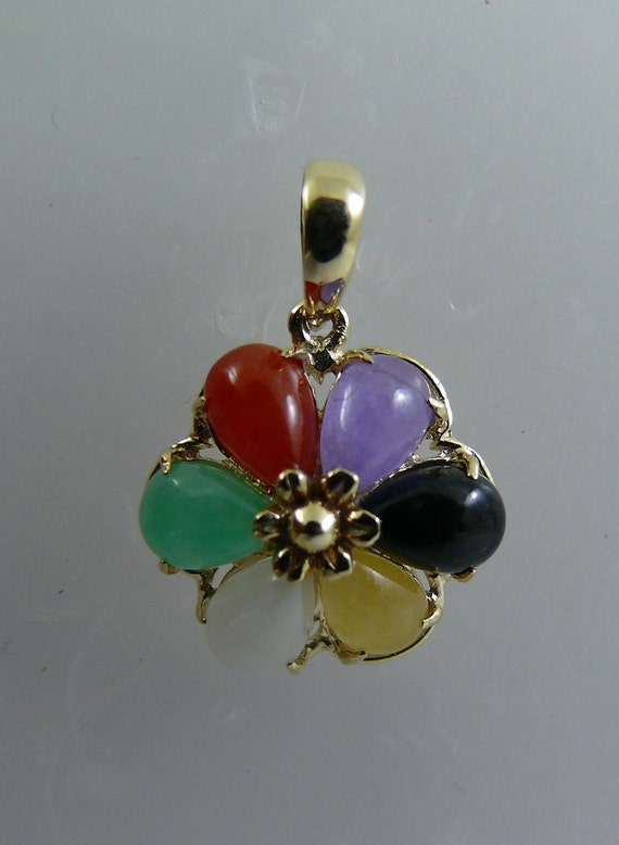 Multi Color 4 mm x 6 mm Jade Flower Pendant With 14K Yellow Gold