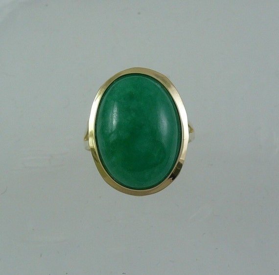 Green Jade 17.7 x 12.7 mm Ring 14k Yellow Gold
