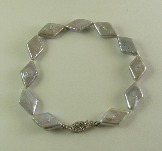 """Freshwater 15.3 mm - 16.3 mm Pearl Bracelet 14K White Gold Fish Lock 8"""""""
