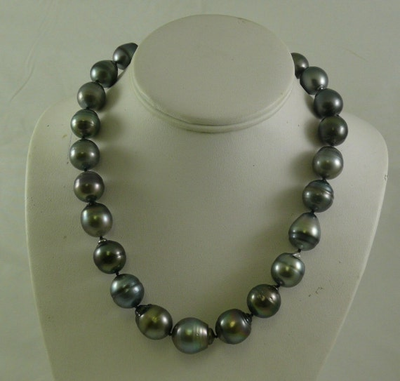 Tahitian Black Baroque 14.1 - 17.0 mm Pearl Necklace 14k White Gold Clasp 18.5""