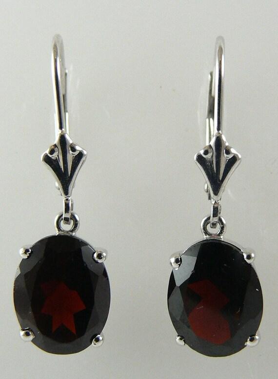 Garnet Earring 5.74ct 14k White Gold
