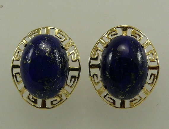 Lapis 16.2 mm x 11.9 mm Earring 14k Yellow Gold