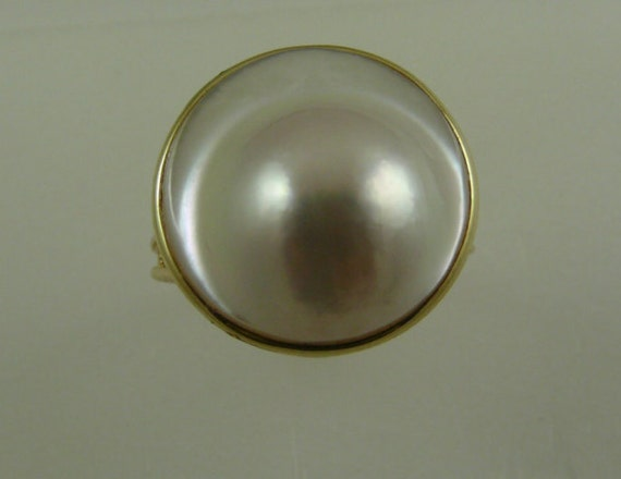 Blister 16.3mm White Pearl Ring 14k Yellow Gold Size 6 1/2