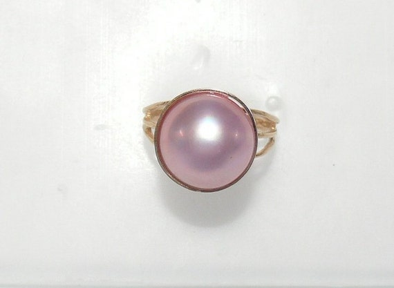 Mabe Pink 13.0 mm Pearl Ring 14k Yellow Gold