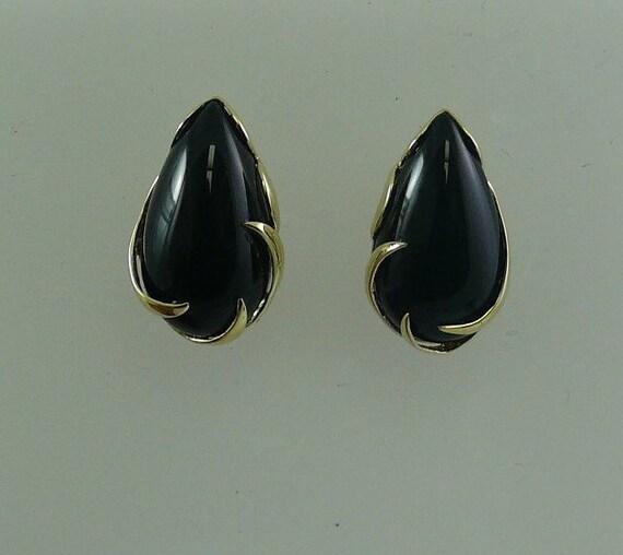 Black Onyx 11 x 20 mm Earrings 14k Yellow Gold
