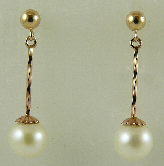 Akoya White 7.5mm & 7.6mm Pearl Dangle Earring 14k Yellow Gold