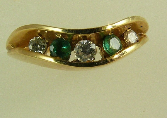 Emerald 0.08ct & Diamonds 0.10ct Ring 14k Yellow Gold