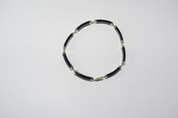 Black Onyx 6.9 mm x 18.5 mm Bracelet 14k Yellow Gold