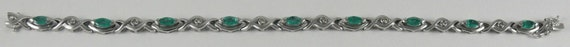 Emerald Bracelet 1.43ct 14k White Gold with Diamonds 0.10ct