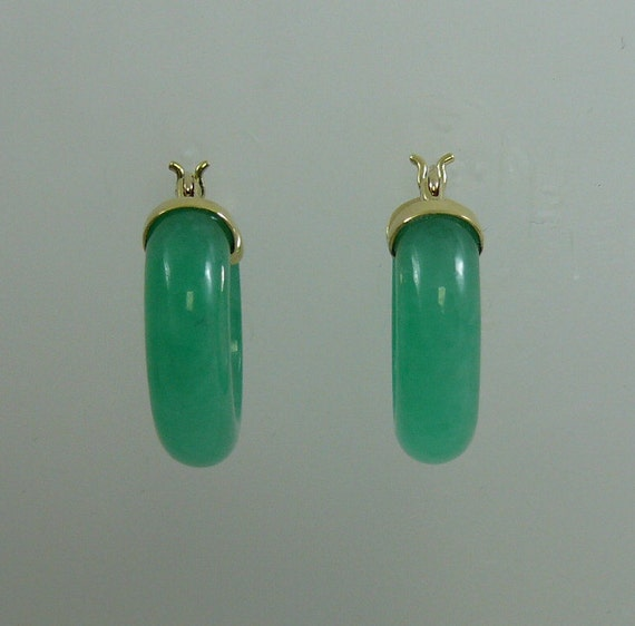 Green Jade Hoop Earrings 14k Yellow Gold