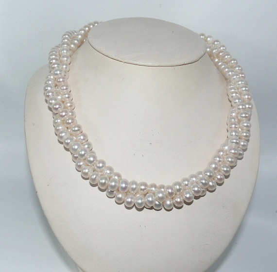 Freshwater White Rondel Shape Pearl Twisted Necklace with Sterling Silver Clasp