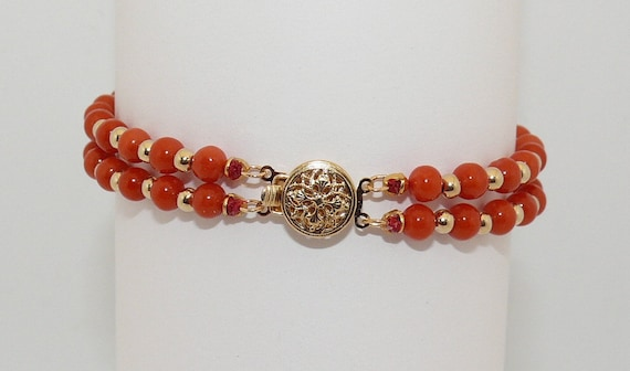 Italian Coral and Gold Beads Double Strand Bracelet 14K Yellow Gold Clasp