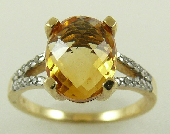 Citrine Ring 3.08ct 14k Yellow Gold with Diamonds 0.19ct, Size Selectable