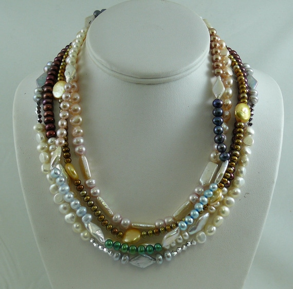 Freshwater Pearls Multi-Color Five Single Strand Necklaces Sterling Silver Lock