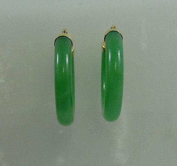Green Jade Hoop Earrings 14k Yellow Gold