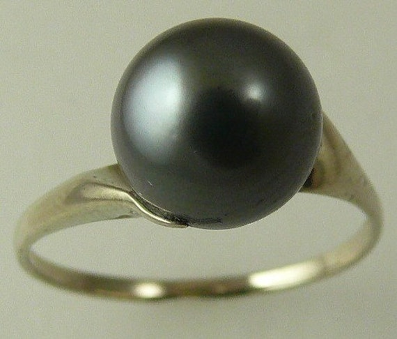Tahitian Dark Gray 9.1mm Pearl Ring 14k White Gold