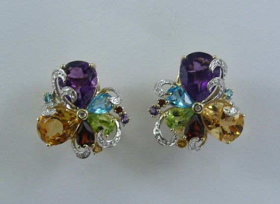 Multi-Color 9.81 ct Gemstone Earrings 14K Yellow Gold and Diamonds 0.10ct