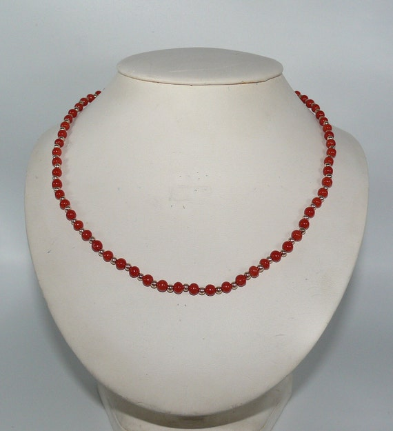 """Italian 4.5 mm - 4.7 mm Coral Necklace With 14K Yellow 3 mm Gold Bead Clasp 18"""""""