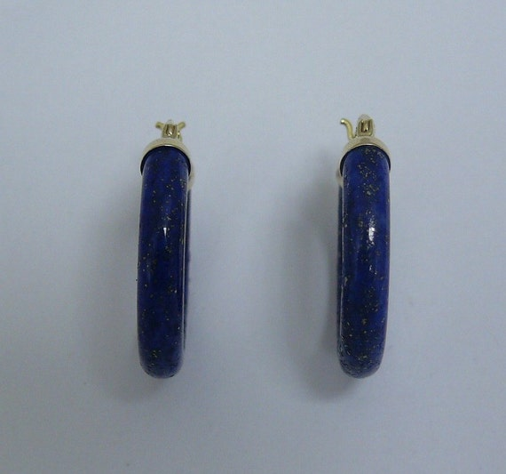 Lapis Hoop 4.5 x 25 mm Earrings 14k Yellow Gold
