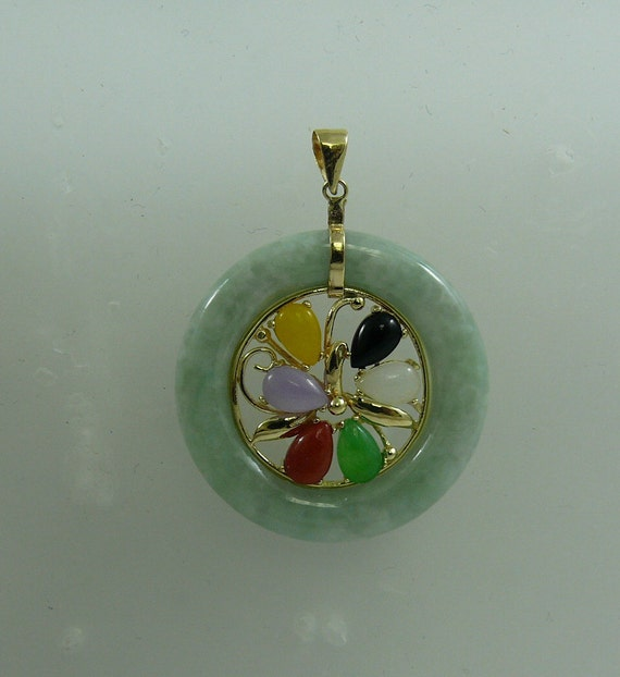 Green Jade and Black Onyx Pendant 14k Yellow Gold