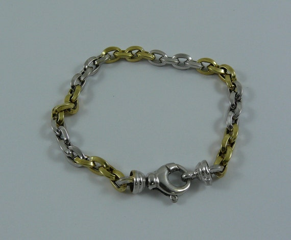 Charm Bracelet 14k Yellow and White Gold 7 1/2 Inches