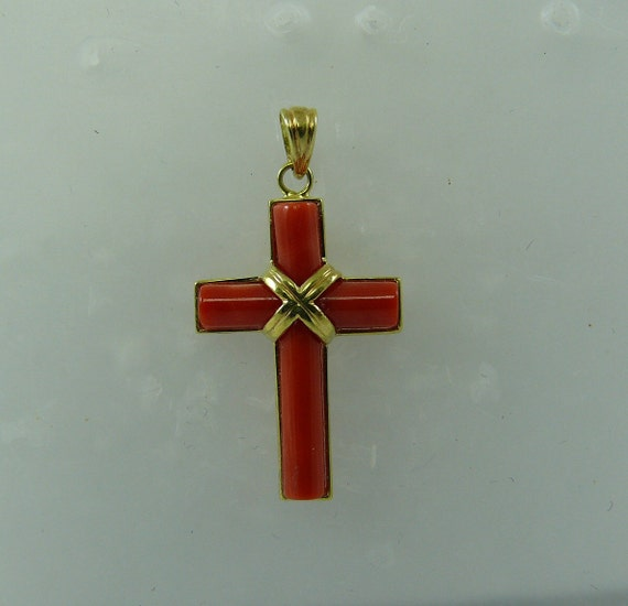 Coral Cross Pendant with 14k Yellow Gold