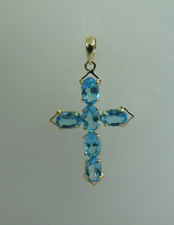 Blue Topaz 3.02 ct Cross Pendant With 14K Yellow Gold